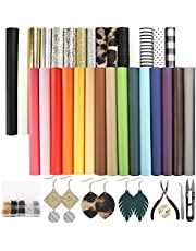 SGHUO 30pcs Faux Leather Sheets Fabric Sheets Fall Theme Glitter Metallic Leather Sheets and Tools for Halloween Craft Making Earrings Making Hair Bows(6.3 x 8.3 Inch)