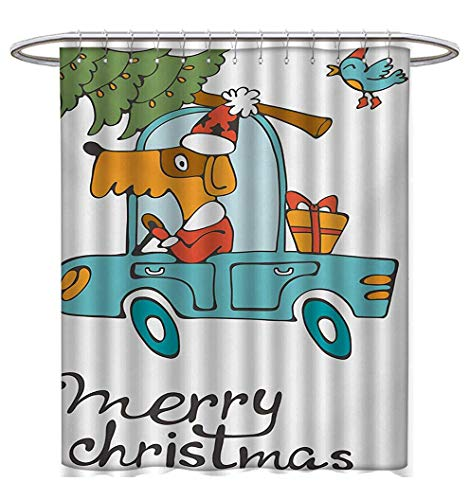 Anhuthree Christmas Shower Curtain Collection by Blue Vintage Car Dog Driving with Santa Costume Cute Bird Tree and Gift Present Satin Fabric Sets Bathroom W72 x L72 White -