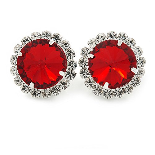 Ruby Red/ Clear Jewelled Round Clip On Earrings In Silver Tone - 20mm D (Plastic Clip On Earrings)