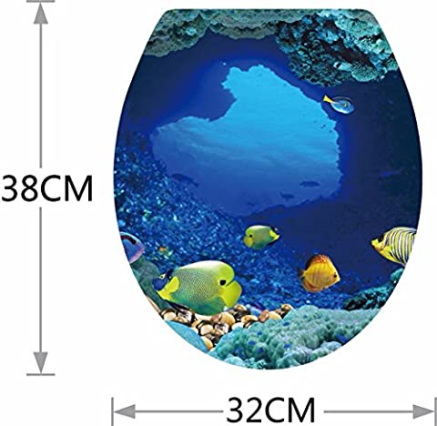 Innovative static sea tropical fish toilet seat sticker 3440cm