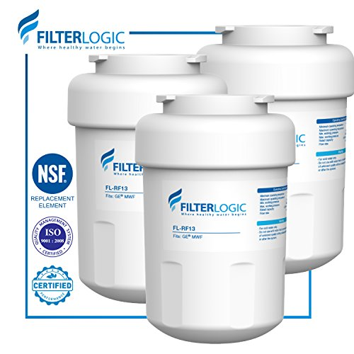 FilterLogic MWF Refrigerator Water Filter Replacement for GE MWF SmartWater, MWFA, MWFP, GWF, GWFA, Kenmore 9991, 46-9991, 469991 (Pack of 3)