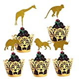 (Set of 30) Gold Glitter Jungle Safari Animal Cupcake Toppers Picks Elephant Giraffe Rhino Lion Monkey and Tiger Cupcake Wrappers Cake Decorations for Animals Party Baby Showers Birthday Party