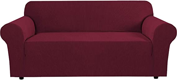 Image of BellaHills Stretch Sofa Covers 3 Seater Couch Covers for Living Room Sofa Slipcovers Furniture Covers with Elastic Bottom, Soft Thick Jacquard Fabric Washable (3 Seater Sofa, Burgundy Red)