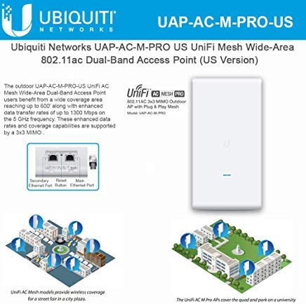 UniFi Mesh AC Pro UAP-AC-M-PRO-US 802.11AC 3x3 MIMO Outdoor Wi-Fi Access Point Wide-Area Dual-Band AP by UBNT Networks