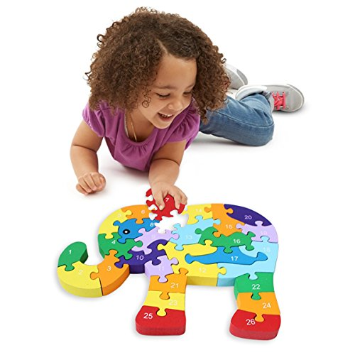 Wooden Blocks Jigsaw Puzzles丨SAFE, ECO-FRIENDLY, TWO SIDES - English Letter & Numbers Puzzles丨Good Preschool Educational Toys For Toddlers Kids Boys Girls,Christmas Gift Toys - M&H (Elephant)