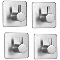 4 PCS Adhesive Hooks, Stainless Steel Self Adhesive Towel Key Hooks, Waterproof and Oil-Resistant Wall Hook for Bathroom, Kitchen and Living Room.(Wall Hooks)