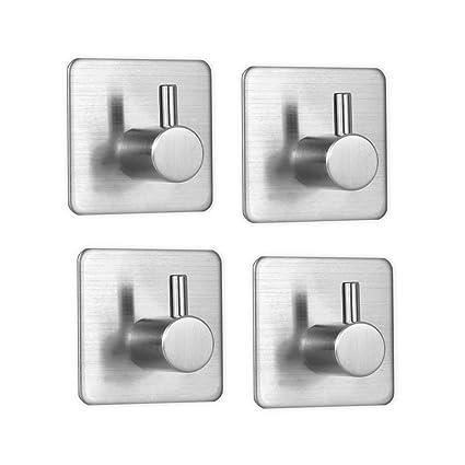 Gancho de pared de 4 piezas, ganchos de toalla autoadhesivos de acero inoxidable, gancho de pared impermeable y resistente al aceite para baño, cocina ...