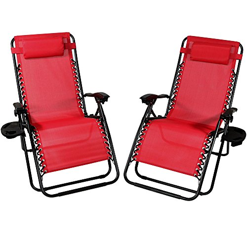 - Sunnydaze Outdoor XL Zero Gravity Lounge Chair with Pillow and Cup Holder, Folding Patio Lawn Recliner, Red, Set of 2