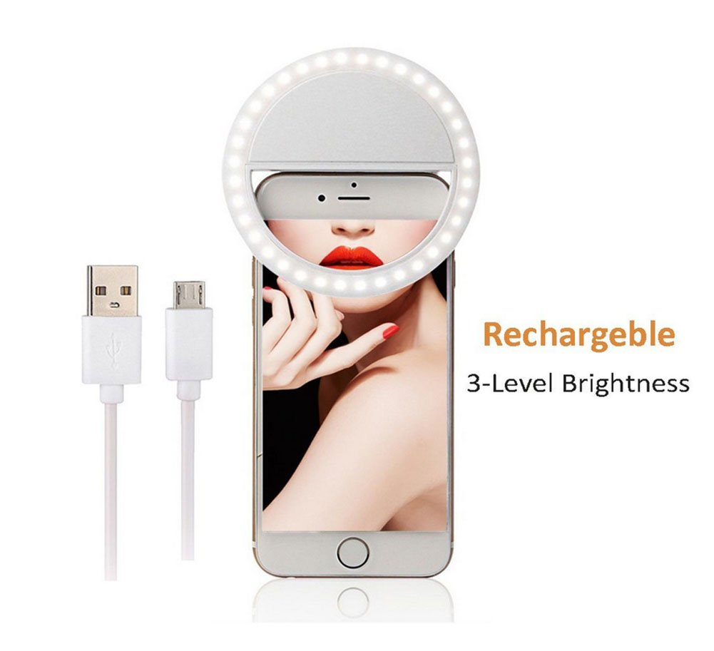 Selfie Ring Light, Rechargable Selfie LED Camera Light with 3 Levels of Brightness for Smartphone, Pad, Laptop in Dim Environment (White) Binwwede