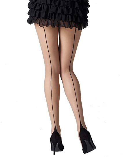 Stiletto Heel Seamed Sheer Gloss Vintage Style Tights One Size