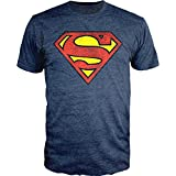 Superman Logo Navy Heather T-shirt Officially Licensed (Large)