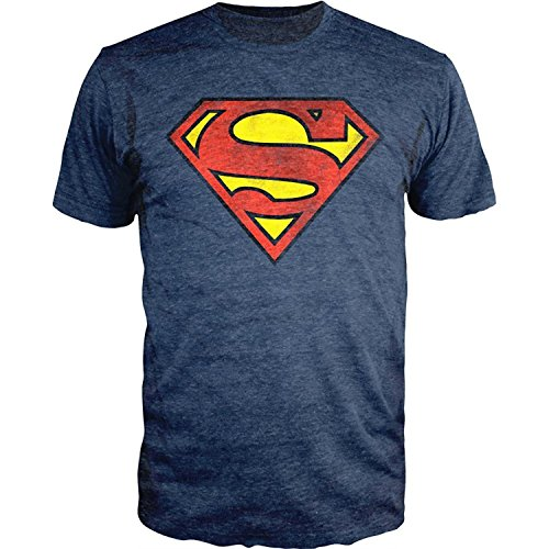 Neon Logo Heathered T-shirt - Superman Logo Shield Heathered Navy Slim Fit T-Shirt (Large), Navy, Size Large W