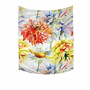 INTERESTPRINT Watercolor Chrysanthemum Flowers Artistic Floral Painting Cotton Linen Wall Hanging Tapestry, Home Decor Collection Bedroom Living Room Dorm, 51 W X 60 L Inches 89