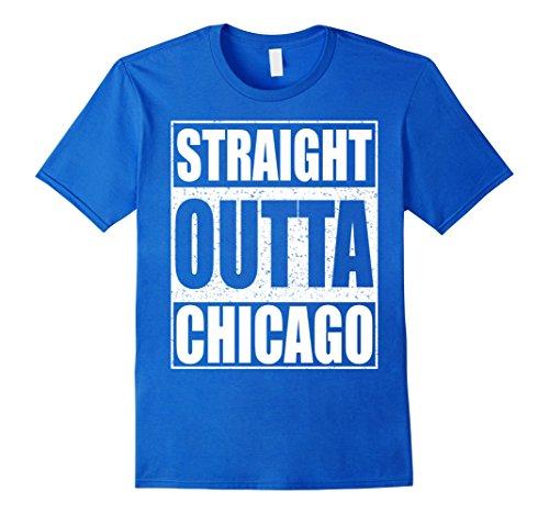 Mens Straight Outta Chicago T-Shirt Funny Illinois Gift Shirt XL Royal Blue