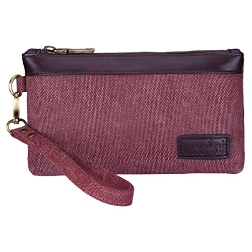 Lecxci Women's Canvas Smartphone Wristlets Bag, Clutch Wallets Purses for iPhone 6S / 7 Plus / 8 Plus / X (Wine)