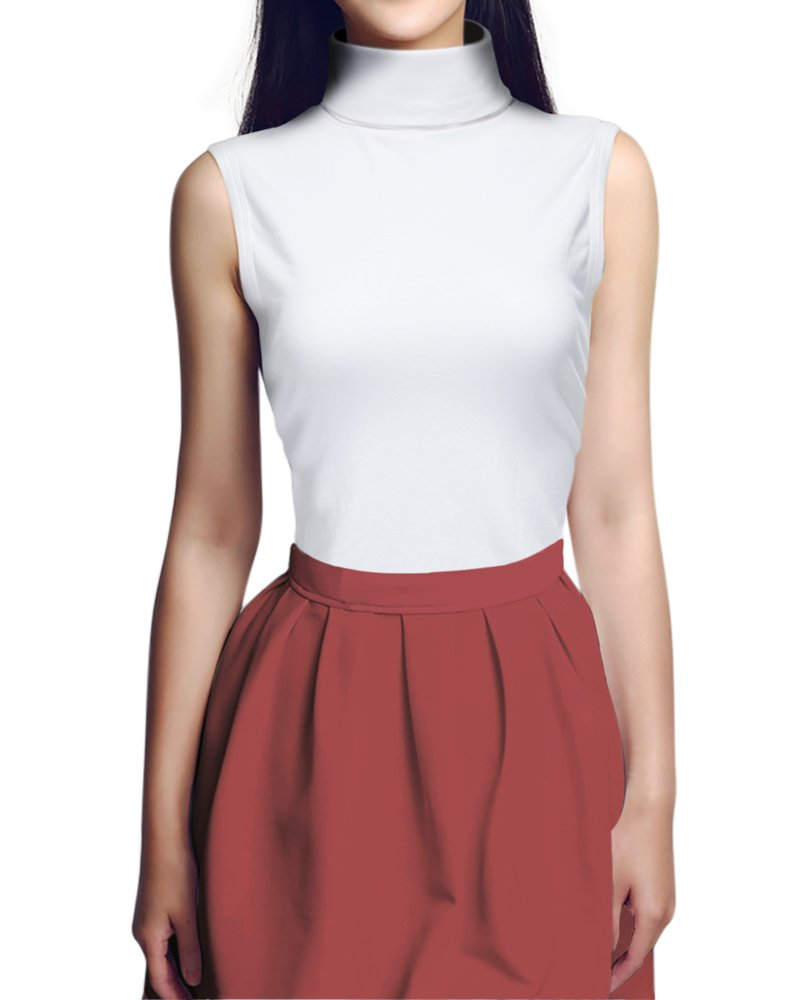 Achengaaa Gootuch Elastic White Sleeveless Fashionable Cotton Turtleneck Sweater (S, White)