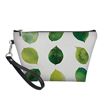 Sage Useful Cosmetic Bag,Watercolor Art Theme Set of Green Leaves Fresh Foliage Trees Forest Woods Ecology Decorative for Travel,for Women Makeup Bags Pouch Purse Handbag Organizer