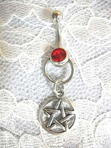 (New Door Knocker Slave Style RED Belly Ring w Pentacle Star Navel Belly Ring)