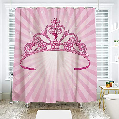 scocici DIY Bathroom Curtain Personality Privacy Convenience,Kids,Beautiful Pink Fairy Princess Costume Print Crown with Diamond Image Art Decorative,70.8
