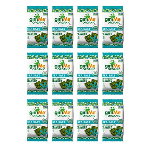 gimMe Snacks - Organic Roasted Seaweed - Sea Salt - (.35oz) - (Pack of 12) - non GMO, Gluten Free - Healthy on-the-go snack for kids & adults