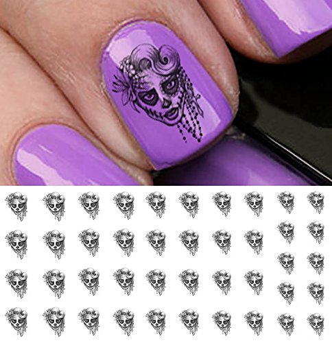 Sugar Skull Lady Water Slide Nail Art Decals - Featured in Rachael Ray Magazine October 2014!