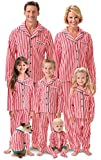 PajamaGram Candy Cane Fleece Matching Family Pajamas, Dog X-Small, Red/White