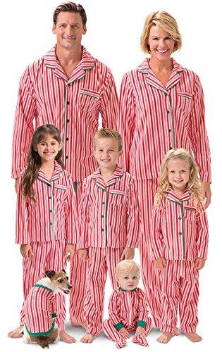 PajamaGram Candy Cane Fleece Matching Family Pajamas, Women 2X (20-22), Red