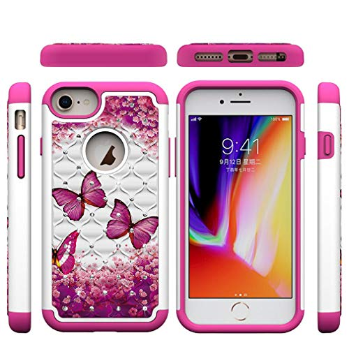 Bat Phenom - iPhone 6/6S/7/8 Plus Case,2 in 1 Hybrid Case Back Cover Hard PC with Colorful Pattern & Point Drill Inner Soft TPU Bumper Case Compatible with Apple iPhone 6/6S/7/8 Plus [5.5 inch] -Butterfly A