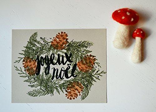 Joyeux Noel Wreath Postcards (Sparkle Pine Wreath)