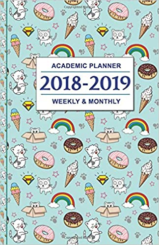 academic planner 2018 2019 cats donuts and ice cream design