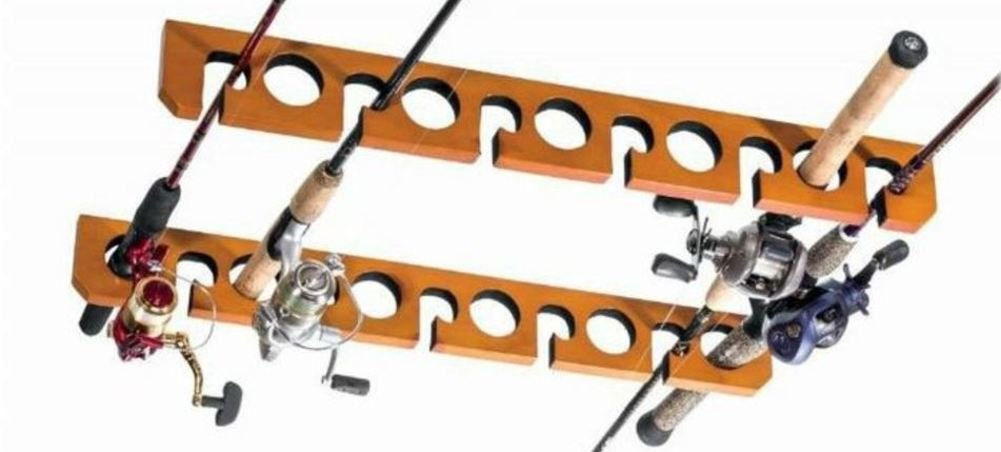 Overhead ceiling mount fishing pole rod reel holder for Ceiling mount fishing rod holders