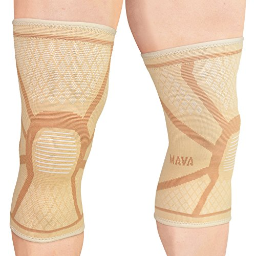 - Mava Sports Knee Compression Sleeve Support - Effective Support for Running, Jogging,Workout, Training & Recovery (Nude/Skin, Large)