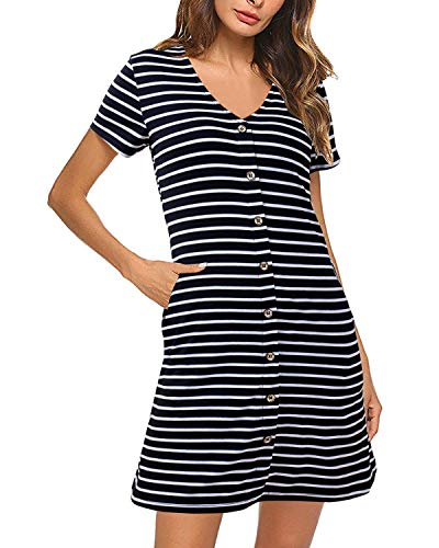 Lady Mini Button - SOLERSUN Summer Dress for Women, Women's Striped V Neck Short Sleeve Button Casual Mini Juniors T Shirt Sexy Dress with Pocket Black M