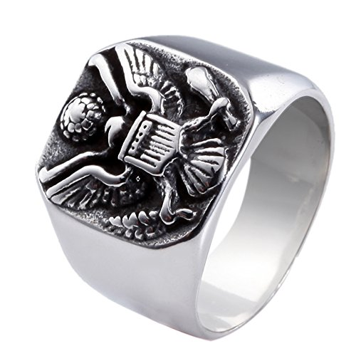 Silver Black Tone Vintage Eagle 316L 361L Stainless Steel Men Ring Size 7-13