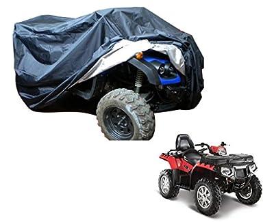 General Mega Automotive ATV Cover Waterproof Fadeproof Washable for Yamaha Raptor Suzuki Polaris (Black and Silver)