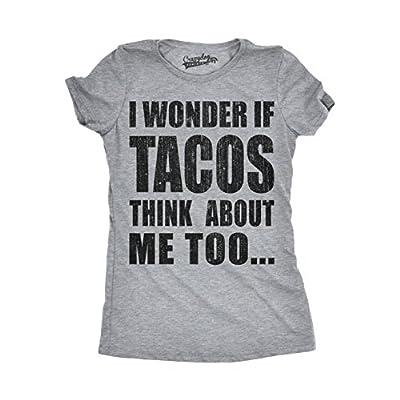 Womens I Wonder If Tacos Think About Me Too Funny Taco Tuesday Cinco De Mayo T shirt