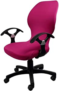 Deisy Dee Computer Office Chair Covers Pure Color Universal Chair Cover Stretch Rotating Chair Slipcovers Cover ONLY Chair Covers C098 (Rose Pink)