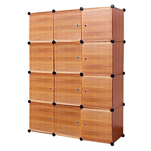 12 Cube Closet Organizer,Garage Storage Racks Sets, Shelf Cabinet, Panels and Units for Books, Plants, Toys, Shoes, Clothes, for Bedroom & Living Room (Teak Panel)