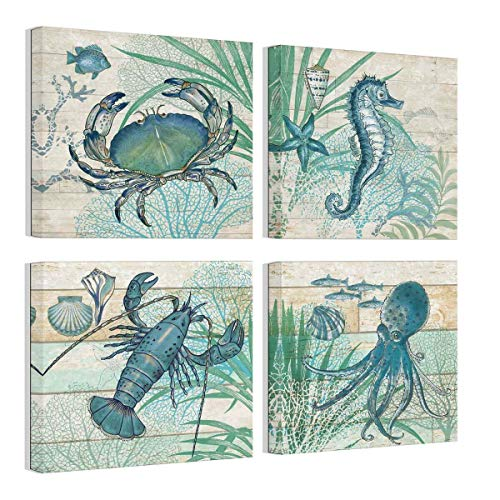 Bathroom Canvas Art Wall Decor Octopus Seahorse Marine Life Watercolor Wooden Pictures Canvas Prints Wall Art Rustic Beach Theme Wall Decor 4 Pieces Framed Wall Art for Bedroom Ready to - Bedroom Beach Themes