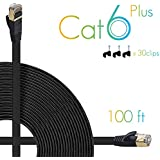 AOFORZ - Ethernet Cable Cat6 Plus 100ft - Black Flat High Speed Internet Network Cable with Cable Clips - Computer Cable with Snagless Rj45 Connectors - 100 feet Black (30 Meters)