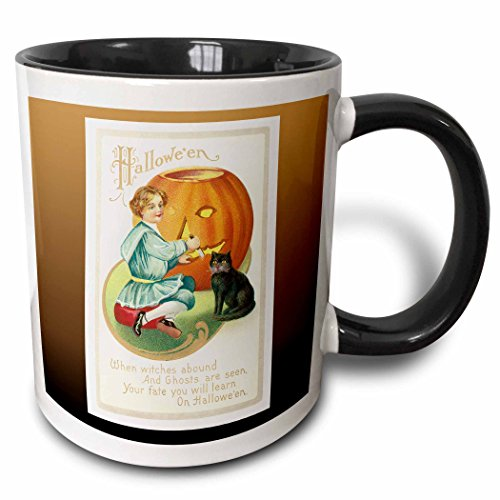 3dRose BLN Vintage Halloween - Vintage Halloween Little Boy Carving a Pumpkin with a Black Cat - 15oz Two-Tone Black Mug -