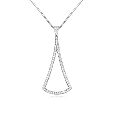 AMDXD Jewelry Silver Plated Women Pendant Necklace Round Crown Cubic Zirconia as Birthday Gift