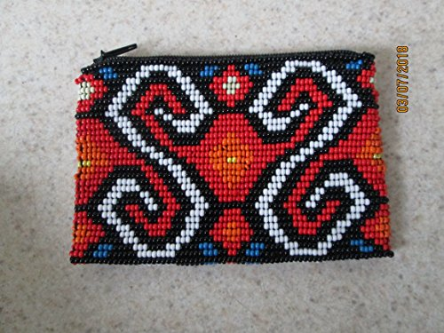 aztec ethnic red hand beaded glass seed beads Fair trade Guatemalan handmade.geometric design swirl pattern zippered coin purse credit card holder pouch bag