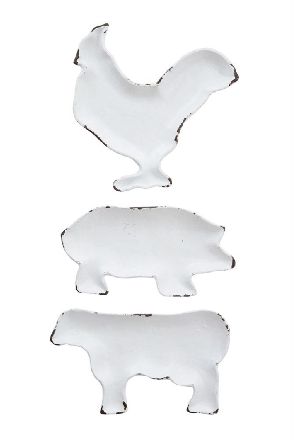 Decorative Cast Iron Farm Animal Dish, Distressed White, 3 Styles (Hangs or Sits) Chicken, Pig, Cow