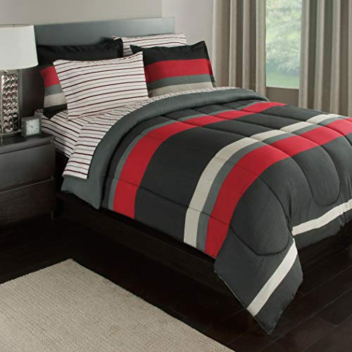 - 5 Piece Boys Twin Xl Rugby Stripes Bed in a Bag Comforter Set with Sheet Set, White Black Red Striped Pattern, Beautiful Colors
