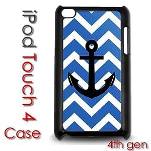 IPod Touch 4 4th gen Touch Plastic Case - Blue Chevron Stripes Nautical Anchor Sailor