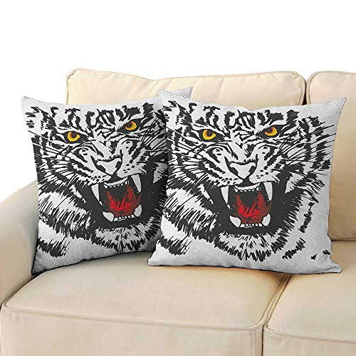 Throw Pillow Cushion Cover Tiger,Angry Feline with Black and White Pattern Realistic Eyes Hunting Surviving, Black Red Yellow 18