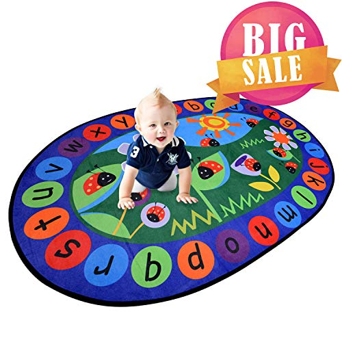 USTIDE 5'x7' Alphabet Oval Microfiber Kids Rug Red Ladybird Designer Learning Rug Lovely Kids Children Playroom Rug Mat