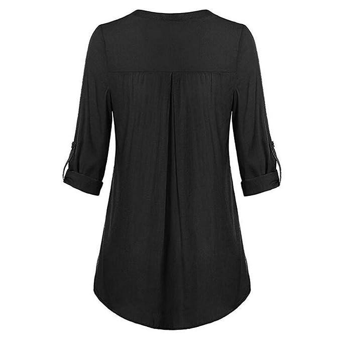 SunGren Las Blusas de Las Mujeres de la Moda, dividieron con Cuello de Pico 3/4 botón de la Manga enrollada Tops Camisas Casuales: Amazon.es: Ropa y ...