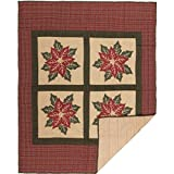 VHC Brands Seasonal Decor Tan Throw, National Quilt Museum Poinsettia Block
